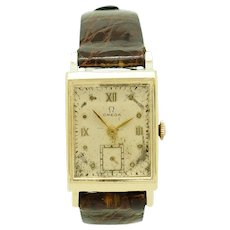 1947 Vintage Mens OMEGA Hand-Winding 17j 0XG Solid 14K Yellow Gold 22mm Brown Leather Wrist Watch