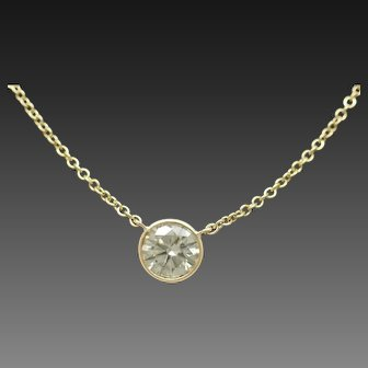1990's Vintage 14K Yellow Gold 1.01ct H-SI1 Round Natural Floating Diamond Bezeled Solitaire Necklace-17""