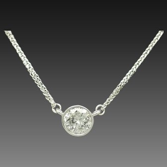 1990's Vintage 14K White Gold 0.90ct F-SI2 Round Natural Diamond Bezeled Solitaire Necklace-15.5""