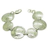 """Vintage Solid Sterling Silver/925 90% Silver US Coin Bracelet-8.5"""""""