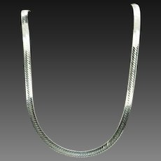 """1990's Vintage FAS Solid Sterling Silver/925 Herringbone Link Necklace-20""""; Italy"""