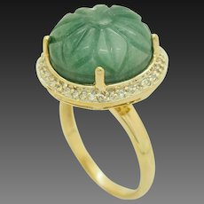 1990's Vintage Sterling Silver/925 Gold Plated Round Green Jade w/Diamond Accents Cocktail Ring 8.5