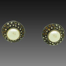 1980's Vintage Solid Sterling Silver/925 Round Pearl w/Marcasite Accents Stud Earrings