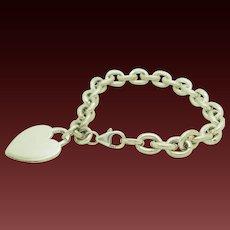 "1990's Vintage Sterling Silver/925 Rolo Chain Heart Charm Dangle Bracelet-7.5"""