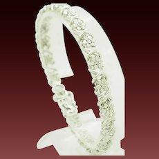 "1990's Vintage Sterling Silver/925 0.30ctw H-SI Round Diamond XOXO Flower Tennis Bracelet-7.5"""