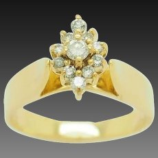 1990's Vintage 14K Yellow Gold 0.35ctw G-SI Round Natural Diamond Cluster Cocktail Ring 7