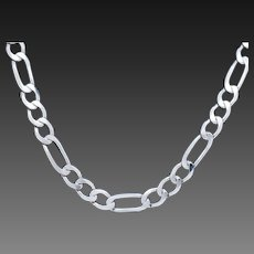 """1990's Vintage Solid Sterling Silver/925 5mm Figaro Link Mens Chain Necklace-20""""; Italy"""