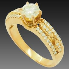 1990's Vintage 14K White Gold 0.75ct H-VS1 Round Diamond Solitaire w/Accents Engagement Ring 7.5