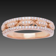 1990's Vintage 14K White Gold 0.35ctw H-SI Round Cut Natural Diamond Wedding Ring 7.5
