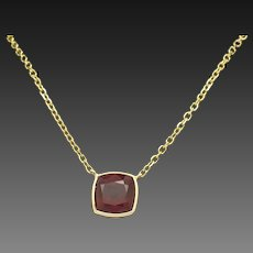 """1990's Vintage 14K Yellow Gold 2.77ct Radiant Cut Red Ruby Bezeled Solitaire Chain Necklace-15"""""""