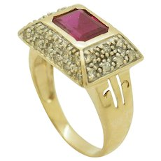 1990's Vintage 14K Yellow Gold 5.50ctw Synthetic Red Ruby w/Diamond Accents Cocktail Ring 10.5