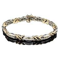 """1990's Vintage 10K Two-Tone Gold 1.00ctw H-SI Baguette Cut Diamond XOXO Tennis Bracelet-6.75"""""""
