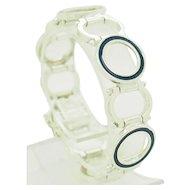 """1990's Vintage Solid Sterling Silver/925 Blue Enamel Circles Bracelet-6.5"""""""