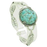 """Vintage Solid Sterling Silver/925 Round Blue Turquoise Ornate Filigree Bracelet-7"""""""