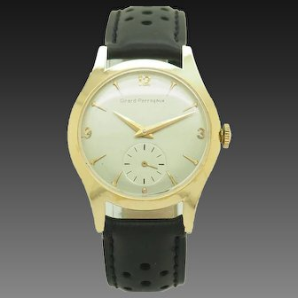 1960's Vintage GIRARD-PERREGAUX 05 AE 467 14K Yellow Gold Silver Dial Swiss Made 32mm Wrist Watch