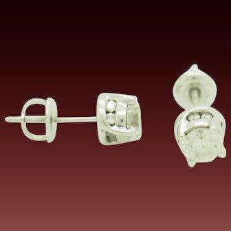 1990's Vintage 14K White Gold 0.80ctw G-SI1 Round Cut Natural Diamond Stud Screwback Earrings