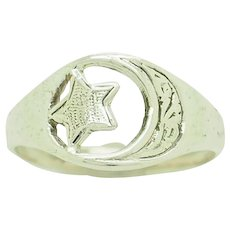 1980's Vintage Sterling Silver/925 Star and Crescent Moon Filigree Band Ring 5