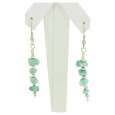 1990's Vintage Sterling Silver/925 Green Turquoise Dangle Drop Earrings