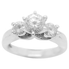 1990's Vintage Sterling Silver/925 1.25ctw Round Cut Cubic Zirconia 3-Stone Engagement Ring 7