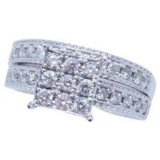 1990's Vintage 14K White Gold 0.50ctw G-SI Round Diamond Bridal Engagement/Wedding Ring Set 7