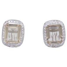 1990's 14K White Gold 10.00cttw smokey topaz w/Diamonds leaverback Stud Earrings