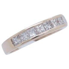 1990's Vintage 18K Yellow Gold 1.00ctw G/VS2-SI1 Princess Cut Natural Diamond Wedding Ring 8