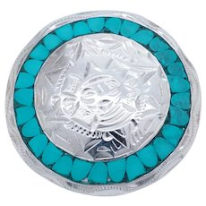 """1980's Vintage Sterling Silver/925 Inlay Turquoise Mexico """"Aztec Mayan Calendar"""" Brooch Pendant"""
