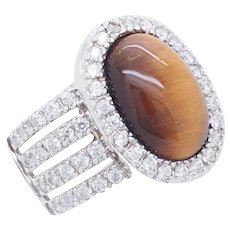 1990's Vintage Sterling Silver/925 Oval Cut Tigers Eye w/Round CZ Accents Cocktail Ring 7