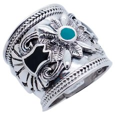 1990's Vintage Sterling Silver/925 Inlay Black Onyx & Turquoise Wide Cocktail Ring 5.5