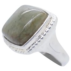 1990's Vintage Sterling Silver/925 15mm Square Cut Green Jade Cocktail Ring 7