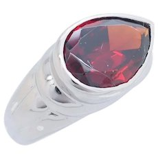 1980's Vintage Sterling Silver/925 5.75ct Pear Cut Natural Garnet Solitaire Cocktail Ring 7