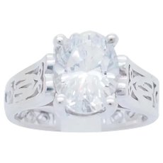 1990's Vintage Sterling Silver/925 1.86ct Oval Cut Solitaire Cubic Zirconia Filigree Engagement Ring 7.25