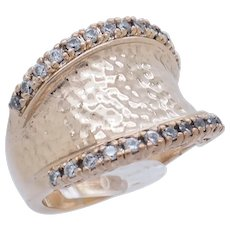 1990's Vintage Sterling Silver/925 Gold Plated 0.50ctw Round CZ Concave Dome Cocktail Ring 6