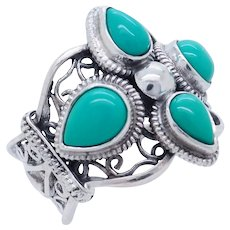 1990's Vintage Sterling Silver/925 Natural Turquoise Filigree Cocktail Ring 7