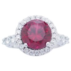 1990's Vintage Sterling Silver/925 3.25ctw Round Synthetic Red Ruby w/CZ Accents Engagement Ring 6