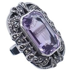 1980's Vintage Sterling Silver/925 10ct Emerald Cut Amethyst w/Marcasite Accents Cocktail Ring 7.25