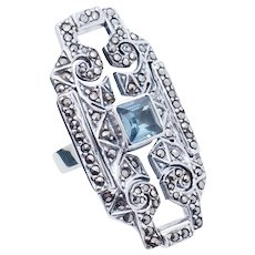 1990's Vintage Sterling Silver/925 1.00ct Square Blue Topaz w/Marcasite Accents Cocktail Ring 8.25