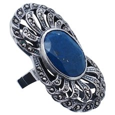 1980's Vintage Sterling Silver/925 Oval Cut Blue Lapis Lazuli w/Marcasite Cocktail Ring 8