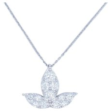 1990's Vintage 14K White Gold 1.50ctw G-SI1 Round Natural Diamond Leaf Flower Necklace-18""