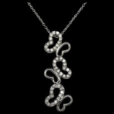 """1990's 14K White Gold 0.50ctw G-VS2 Round Cut Natural Diamond 3 Butterfly Necklace-16"""""""