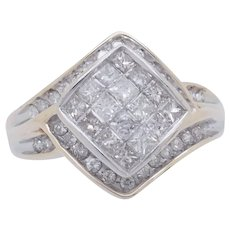 1990's Vintage 10K Yellow Gold 1.00ctw G-SI1 Round & Square Cut Natural Diamond Cocktail Ring 7
