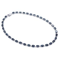 1980's Vintage Sterling Silver/925 10.00ctw Oval Cut Natural Blue Sapphire Choker Necklace-14""