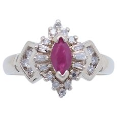 1990's Vintage 10K Yellow Gold 0.45ctw Marquise Red Ruby w/Round Diamond Accent Cocktail Ring 7