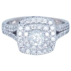 1990's Vintage 14K White Gold 1.00ctw G-SI1 Round Cut Natural Diamond Cocktail Ring 7.25