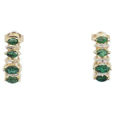 1990's Vintage 14K Yellow Gold 1.25ctw Marquise Emerald w/Diamond Accents Stud Drop Earrings
