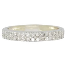 1990's Vintage 18K White Gold 1.00ctw G-VS1 Round Cut Natural Diamond Wedding Band Ring 6.5