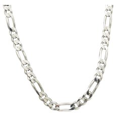 1990's Vintage Solid Sterling Silver 925 5.5 mm Figaro Link Mens Chain Necklace-22""