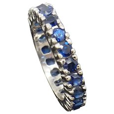1990's Vintage 14K White Gold 2.00ctw Round Cut Natural Blue Sapphire Wedding Band Ring 4