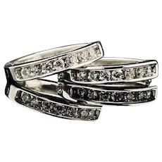 1990's Vintage 14K White Gold 0.50ctw G/VS2 Round Cut Natural Diamond Earrings