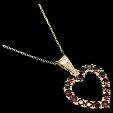 """1990's Vintage 14K Yellow Gold 1.00ctw Round Cut Red Garnet Open Heart Pendant Necklace-16"""""""